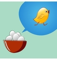 Eggs are thinking that they will become chickens vector image