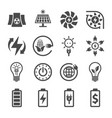 electricity ecology and energy icon set icon vector image vector image