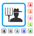 farmer with pitchfork framed icon vector image vector image