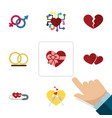 flat icon love set of emotion ring divorce and vector image