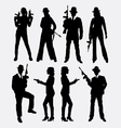 Gangster with gun weapon silhouette