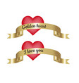 golden heart and i love you text on golden ribbon vector image vector image