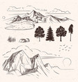 hand drawing mountain range peaks clouds vector image