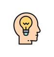 head with lamp idea generation brain vector image