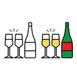 icon champagne bottle and two glasses on white vector image vector image