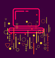 Laptop on abstract colorful geometric dark vector image