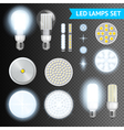 Led Lamps Transparent Set vector image
