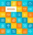 line bitcoin icons vector image vector image