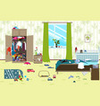 messy room where young family with little baby vector image vector image