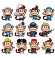 monkey occupations set vector image vector image