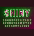 neon light alphabet extra glowing font type vector image vector image