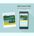 photo of landscape with smartphone vector image vector image