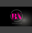 pink bn brush stroke letter logo design vector image vector image