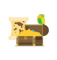 pirate treasure map flat icon vector image