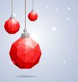Polygonal red Christmas balls hanging on winter b vector image