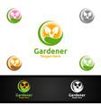 rise gardener logo with green garden environment vector image vector image