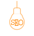 SEO word combined with light bulb vector image