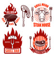 set grill emblems and labels steakhouse vector image vector image