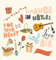 set icons romance in nature theme guitar vector image