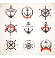 set vintage nautical icons and symbols vector image