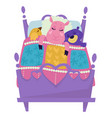 sheep and bird with bear sleeping in bed vector image