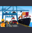 shipping port scene vector image vector image