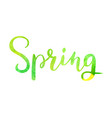 spring watercolor lettering hand drawn watercolor vector image vector image