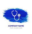 stethoscope icon - blue watercolor background vector image vector image