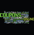 the joy of online coupons text background word vector image vector image