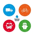 Transport icons Truck Bicycle Bus and Ship vector image vector image