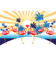 tropical background with red flamingos and palm vector image vector image