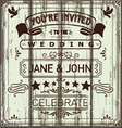 Vintage Wooden Wedding Invitation vector image vector image