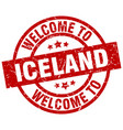 welcome to iceland red stamp vector image vector image