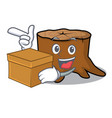 with box tree stump character cartoon vector image vector image