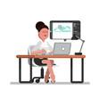 woman designer doing on laptop vector image