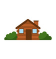 wooden cabin house chimney camp bush exterior vector image
