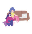 working remotely young women with laptop on sofa vector image vector image