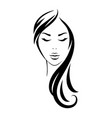 young woman head with black long hair vector image vector image