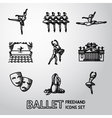 Set of Ballet freehand icons with - ballet dancers vector image