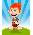 The boy carrying the ball and backpack is waving vector image