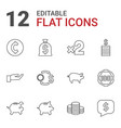 12 coin icons vector image vector image