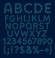 alphabet letters numbers and signs blue stars vector image