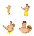 Avatar fat man with hamburger