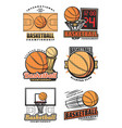 basketball game team icons vector image vector image