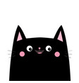 black cat head face silhouette pink blush cheeks vector image vector image