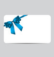 blank gift card template with blue bow and ribbon vector image vector image