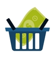 blue basket shop bill money vector image