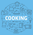 blue line flat circle cooking vector image vector image
