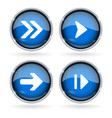 blue next buttons with chrome frame round glass vector image vector image