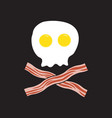 breakfast fried eggs as skull and cross bacon vector image vector image
